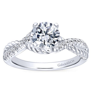 Gabriel Bridal Collection White Gold Diamond Diamond Accent and Roped Criss Cross Engagement Ring (0.17 ctw)