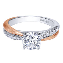 Load image into Gallery viewer, Gabriel Bridal Collection White and Pink Gold Criss Cross Engagement Ring (0.18 ctw)