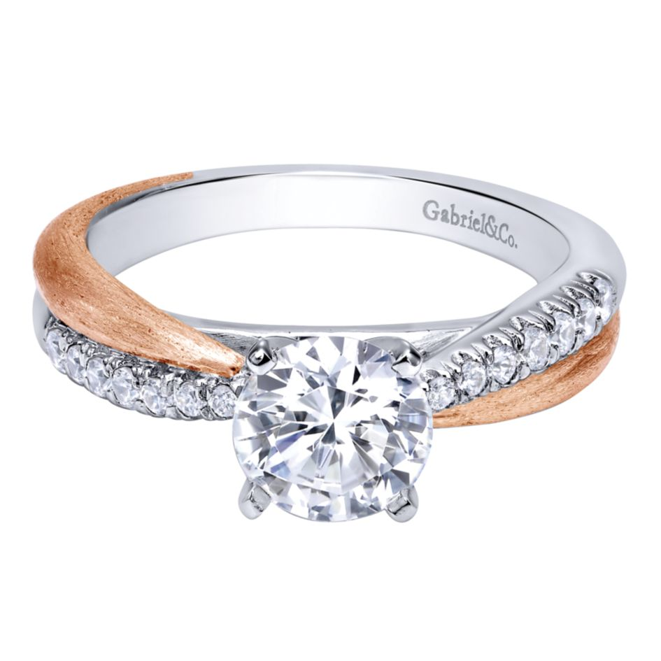 Gabriel Bridal Collection White and Pink Gold Criss Cross Engagement Ring (0.18 ctw)