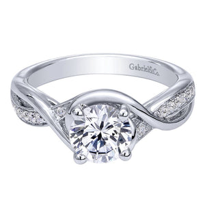Gabriel Bridal Collection White Gold Diamond Criss Cross Round Engagement Ring (0.1 ctw)
