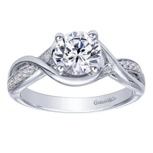 Load image into Gallery viewer, Gabriel Bridal Collection White Gold Diamond Criss Cross Round Engagement Ring (0.1 ctw)
