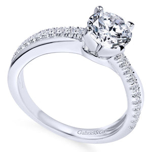 Gabriel Contemporary Collection White Gold Twisted Engagement Ring (0.19 CTW)