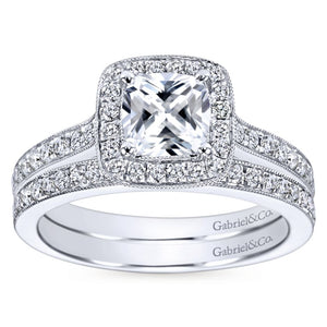 Gabriel Bridal Collection White Gold Halo Engagement Ring (0.3 ctw)