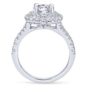 Gabriel Bridal Collection White Gold Diamond Double Diamond Accent Halo Round Engagement Ring (0.83 ctw)