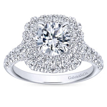Load image into Gallery viewer, Gabriel Bridal Collection White Gold Diamond Double Diamond Accent Halo Round Engagement Ring (0.83 ctw)