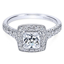 Load image into Gallery viewer, Gabriel Bridal Collection White Gold Diamond Accent Shank and Princess Cut Diamond Halo Engagement Ring (0.56 ctw)