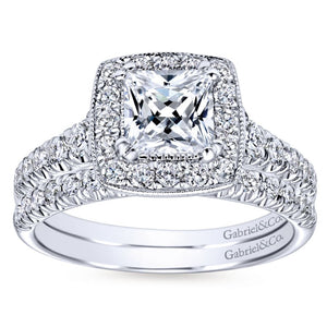 Gabriel Bridal Collection White Gold Diamond Accent Shank and Princess Cut Diamond Halo Engagement Ring (0.56 ctw)