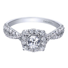 Load image into Gallery viewer, Gabriel Bridal Collection White Gold Halo Engagement Ring (0.5 ctw)