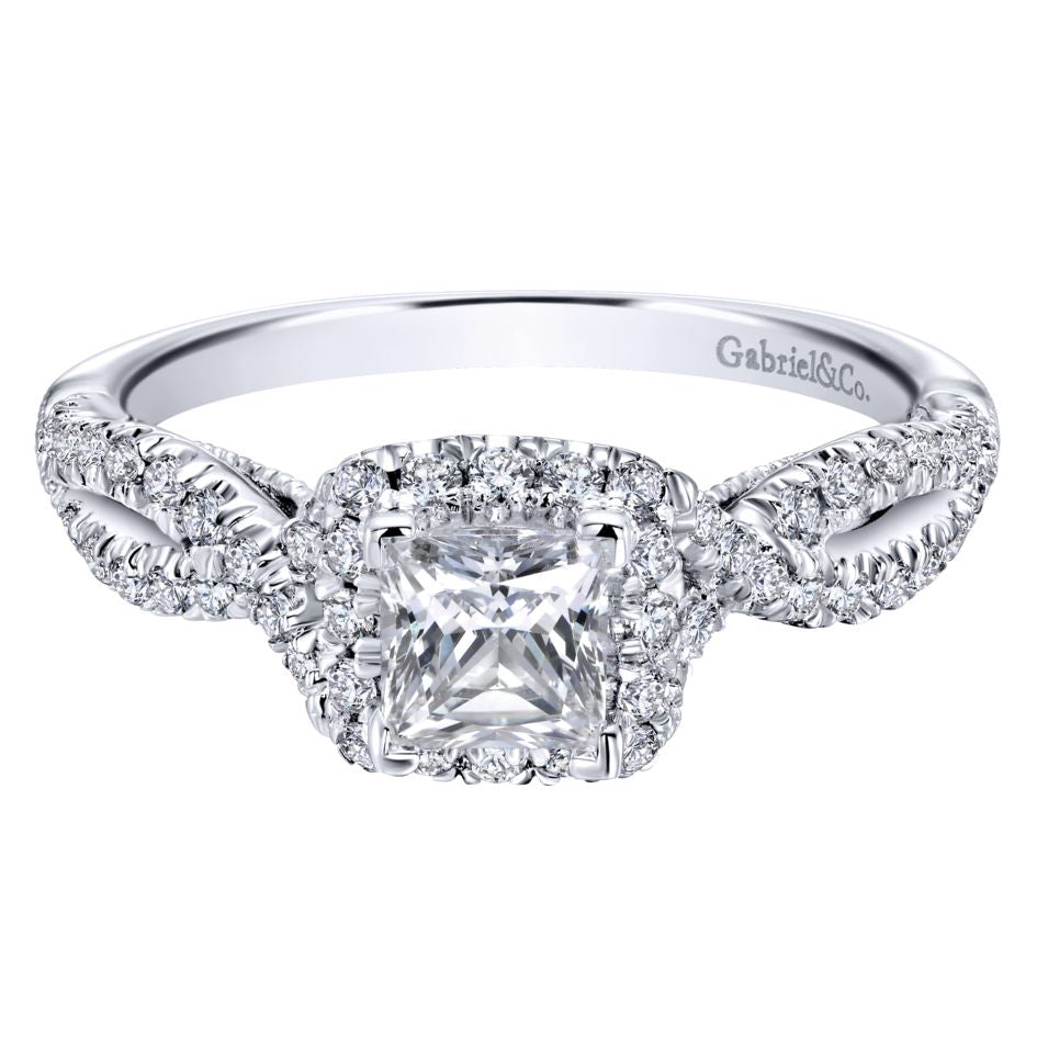 Gabriel Bridal Collection White Gold Halo Engagement Ring (0.36 ctw)