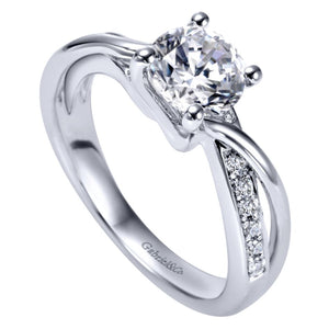 Gabriel Bridal Collection White Gold Criss Cross Engagement Ring (0.08 ctw)