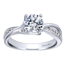Load image into Gallery viewer, Gabriel Bridal Collection White Gold Criss Cross Engagement Ring (0.08 ctw)