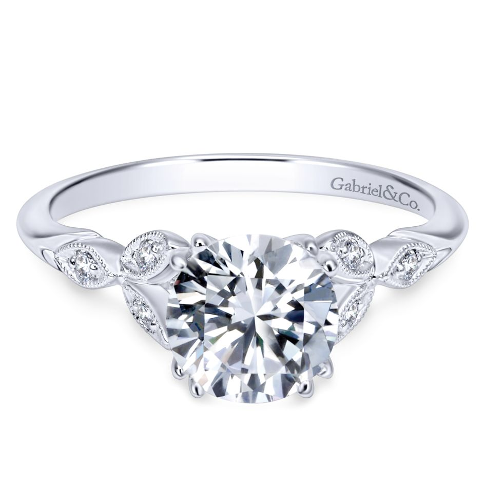 Gabriel Bridal Collection White Gold Diamond Cathedral Setting Straight Shank Engagement Ring (0.08 ctw)