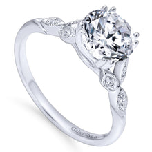 Load image into Gallery viewer, Gabriel Bridal Collection White Gold Diamond Cathedral Setting Straight Shank Engagement Ring (0.08 ctw)