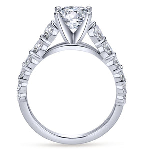 Gabriel Bridal Collection White Gold Diamond Graduating Diamond Accent with Straight Cathedral Setting Engagement Ring (1 ctw)