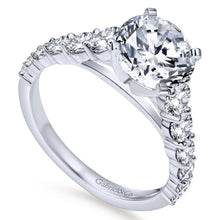 Load image into Gallery viewer, Gabriel Bridal Collection White Gold Diamond Graduating Diamond Accent with Straight Cathedral Setting Engagement Ring (1 ctw)