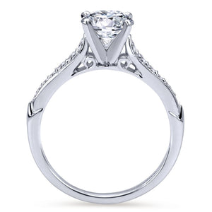 Gabriel Bridal Collection White Gold Diamond Straight Milgrain Channel Engagement Ring (0.2 ctw)