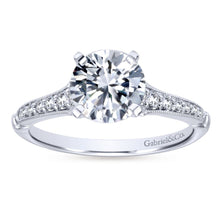 Load image into Gallery viewer, Gabriel Bridal Collection White Gold Diamond Straight Milgrain Channel Engagement Ring (0.2 ctw)