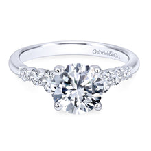 Load image into Gallery viewer, Gabriel Bridal Collection White Gold Trellis Setting Diamond Straight Engagement Ring (0.5 ctw)