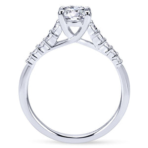 Gabriel Bridal Collection White Gold Diamond Accent Graduating Diamonds with Straight Shank Engagement Ring (0.26 ctw)