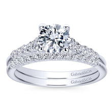 Load image into Gallery viewer, Gabriel Bridal Collection White Gold Diamond Accent Graduating Diamonds with Straight Shank Engagement Ring (0.26 ctw)