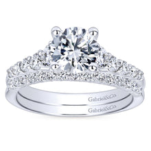 Load image into Gallery viewer, Gabriel Bridal Collection White Gold Diamond Accent Graduating Diamonds with Straight Shank Engagement Ring (0.5 ctw)