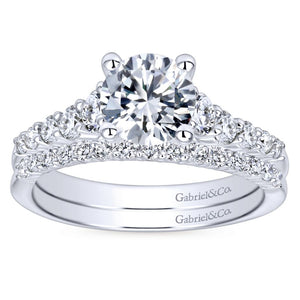 Gabriel Bridal Collection White Gold Diamond Accent Graduating Diamonds with Straight Shank Engagement Ring (0.5 ctw)