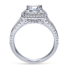 Load image into Gallery viewer, Gabriel Bridal Collection White Gold Diamond Milgrain and Channel Setting Double Halo Engagement Ring (1 ctw)