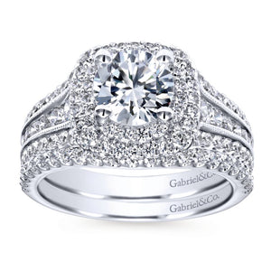 Gabriel Bridal Collection White Gold Diamond Milgrain and Channel Setting Double Halo Engagement Ring (1 ctw)