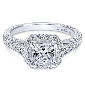 Gabriel Bridal Collection White Gold Diamond Princess Cut Halo Engagement Ring with Channel Setting (0.7 ctw)