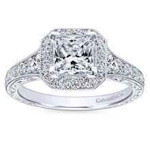 Load image into Gallery viewer, Gabriel Bridal Collection White Gold Diamond Princess Cut Halo Engagement Ring with Channel Setting (0.7 ctw)