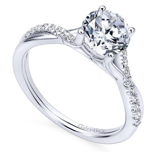 Gabriel Bridal Collection White Gold Diamond Diamond Accent Criss Cross Engagement Ring with Cathedral Setting (0.15 ctw)