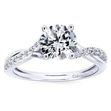 Load image into Gallery viewer, Gabriel Bridal Collection White Gold Diamond Diamond Accent Criss Cross Engagement Ring with Cathedral Setting (0.15 ctw)