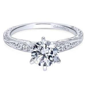 Gabriel Bridal Collection White Gold Petite Side Diamonds Straight Engagement Ring (0.1 ctw)