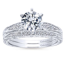 Load image into Gallery viewer, Gabriel Bridal Collection White Gold Petite Side Diamonds Straight Engagement Ring (0.1 ctw)