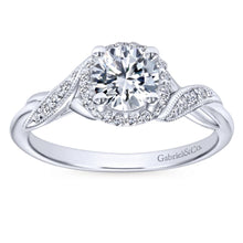 Load image into Gallery viewer, Gabriel Bridal Collection White Gold Twisted Shank Diamond Halo Engagement Ring (0.14 ctw)