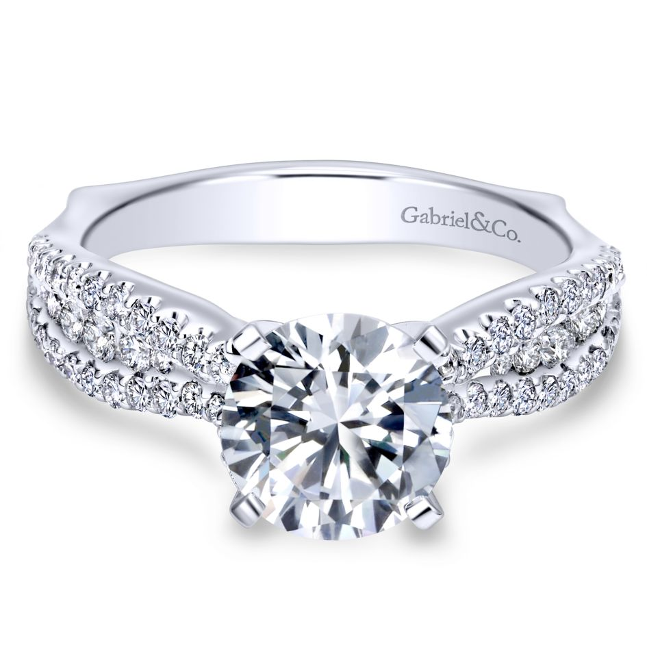 Gabriel Bridal Collection White Gold Straight Engagement Ring (0.53 ctw)