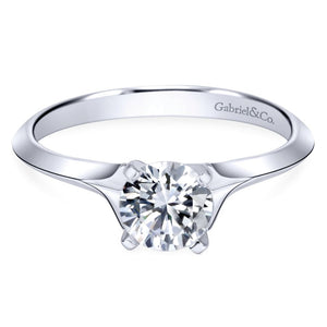 Gabriel Bridal Collection White Gold Solitaire Rounded Cathedral Engagement Ring (0 ctw)