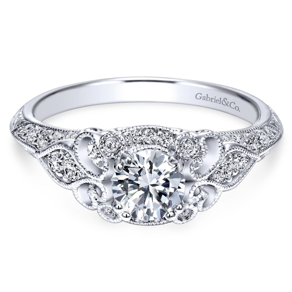 Gabriel Bridal Collection White Gold Filigree Round Diamond Halo Engagement Ring (0.31 ctw)