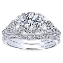 Load image into Gallery viewer, Gabriel Bridal Collection White Gold Filigree Round Diamond Halo Engagement Ring (0.31 ctw)