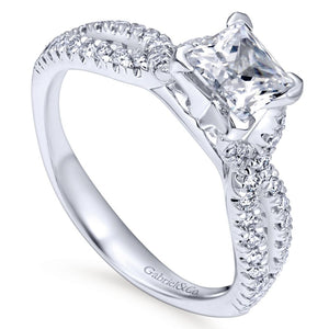 Gabriel Bridal Collection White Gold Diamond Princess Cut Criss Cross Engagement Ring (0.32 ctw)