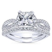 Load image into Gallery viewer, Gabriel Bridal Collection White Gold Diamond Princess Cut Criss Cross Engagement Ring (0.32 ctw)