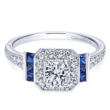 Load image into Gallery viewer, Gabriel Bridal Collection White Gold Diamond Halo and Side Sapphire Engagement Ring with Milgrain Detailing (0.4 ctw)
