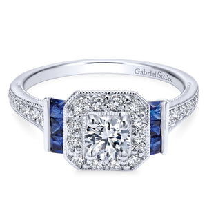 Gabriel Bridal Collection White Gold Diamond Halo and Side Sapphire Engagement Ring with Milgrain Detailing (0.4 ctw)