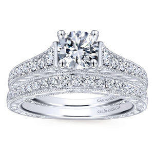 Gabriel Bridal Collection White Gold Diamond Straight Channel and Hand Cut Etched Engagement Ring (0.28 ctw)