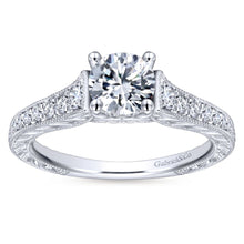 Load image into Gallery viewer, Gabriel Bridal Collection White Gold Diamond Straight Channel and Hand Cut Etched Engagement Ring (0.28 ctw)