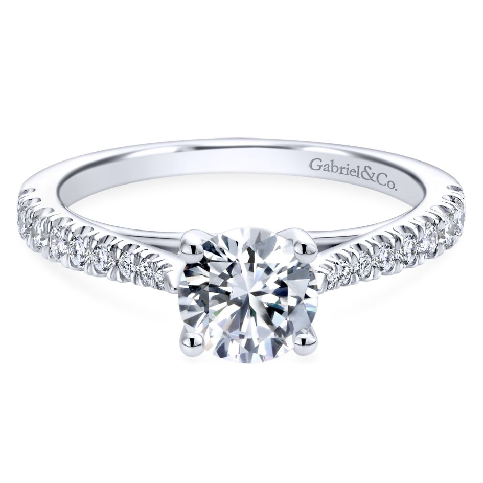 Gabriel Bridal Collection White Gold Diamond Diamond Accent Straight Engagement Ring with Cathedral Setting (0.28 ctw)