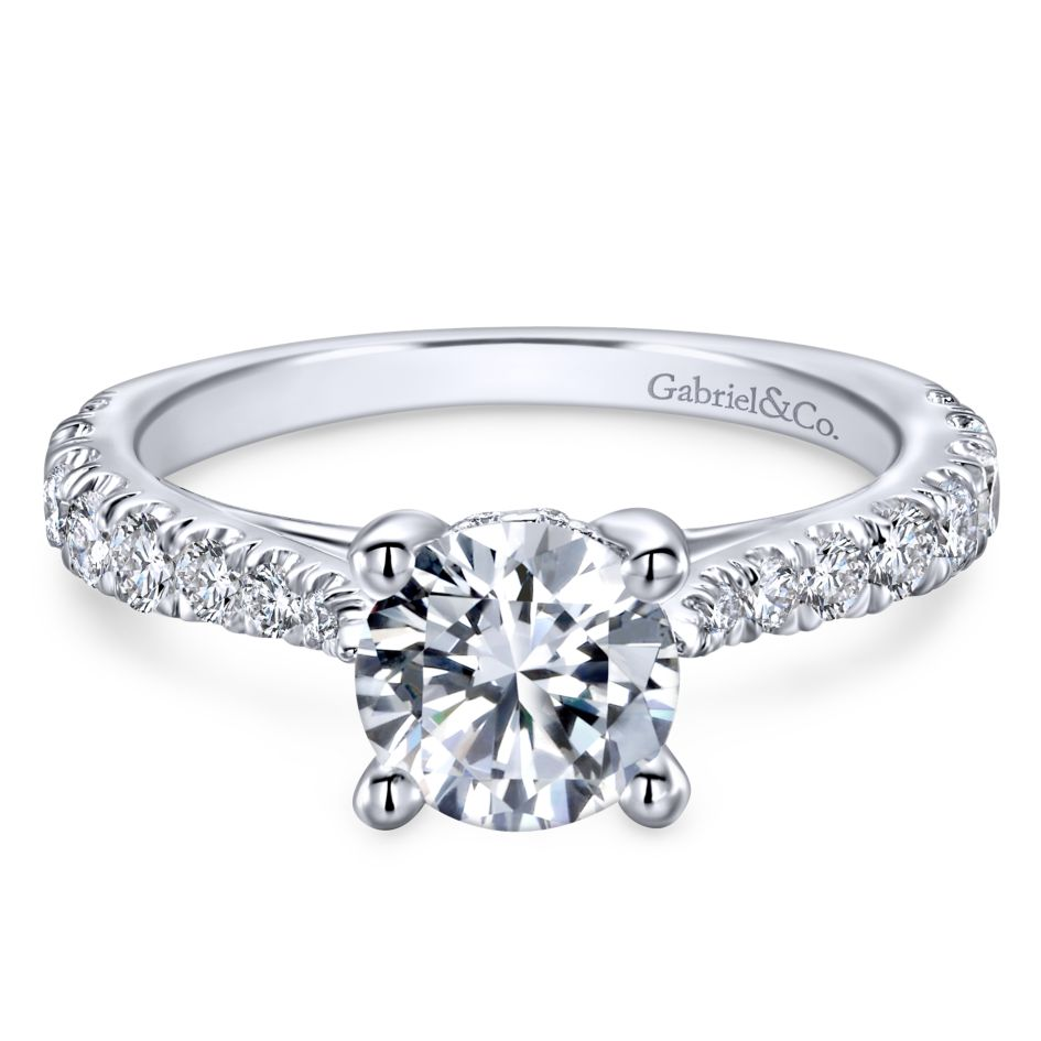 Gabriel Bridal Collection White Gold Diamond Diamond Accent Straight Engagement Ring with Four Prong Setting (0.56 ctw)