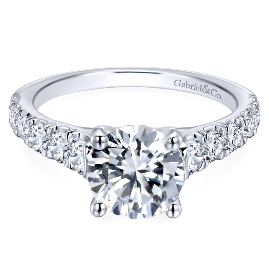 Gabriel Bridal Collection White Gold Diamond Straight Four Prong Setting Engagement Ring (0.81 ctw)