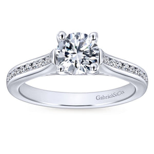 Gabriel Bridal Collection White Gold Diamond Straight Channel Engagement Ring (0.25 ctw)