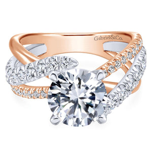 Gabriel Bridal Collection White and Pink Gold Free Form Engagement Ring (0.79 ctw)